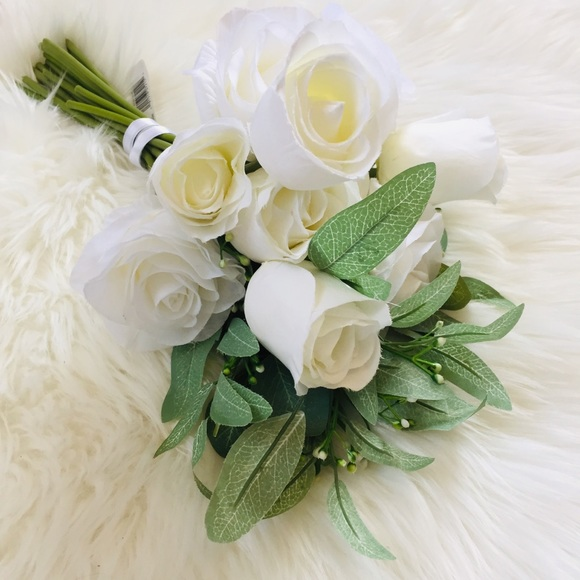 Ashland Faux Floral Bouquet White Roses & Greenery